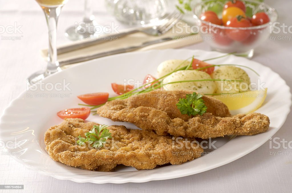 Fried Veal Schnitzel royalty-free stock photo