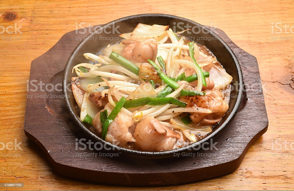 fried vegetables and beef?with hot plate stock photo
