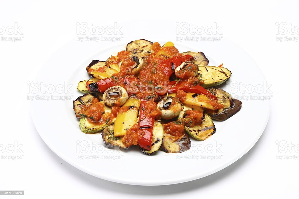 Fried Vegetables with Tomato Sauce royalty-free stock photo