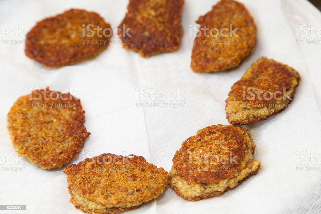 fried vegetarian cutlets stock photo