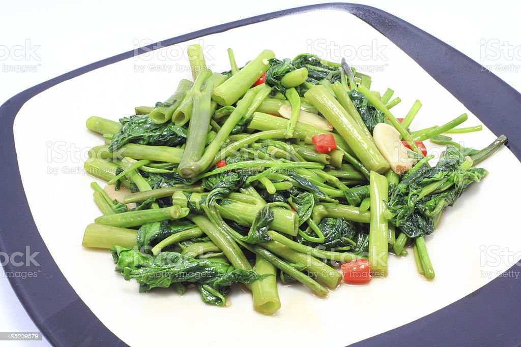 Fried Water Spinach stock photo