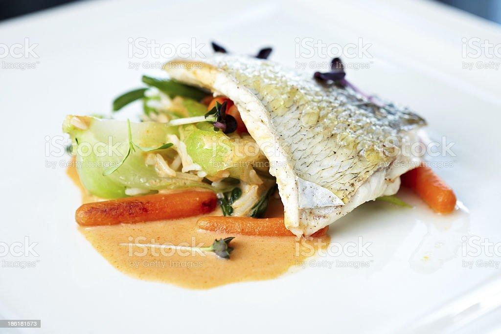 Fried whitefish stock photo