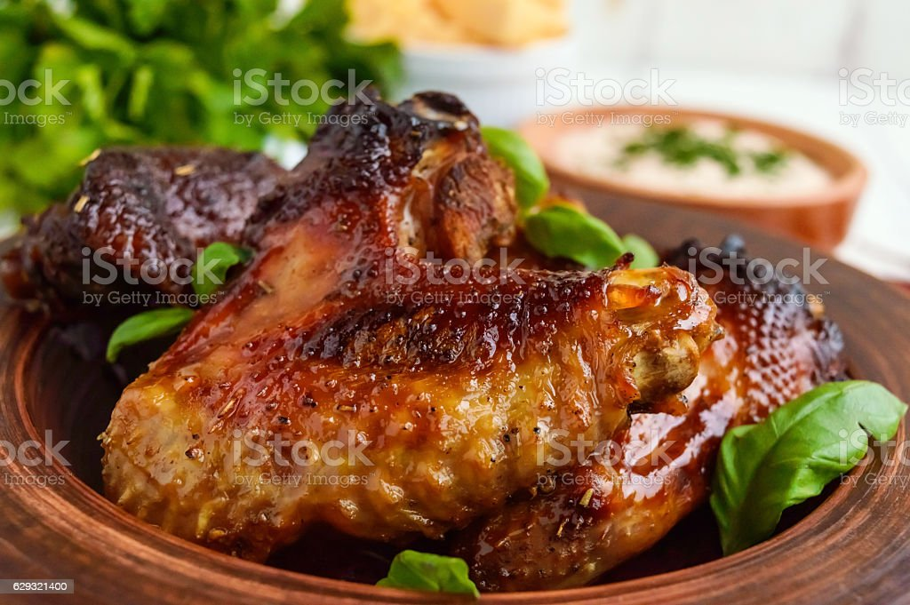 Fried wings (duck, chicken) in a honey glaze stock photo