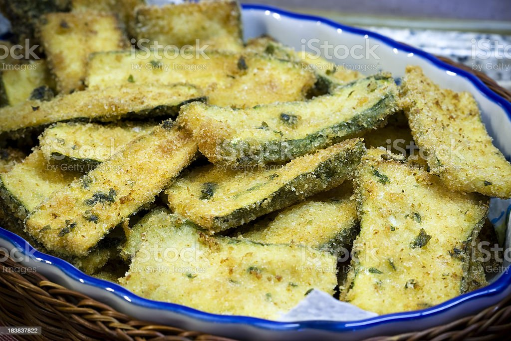 fried zucchini stock photo