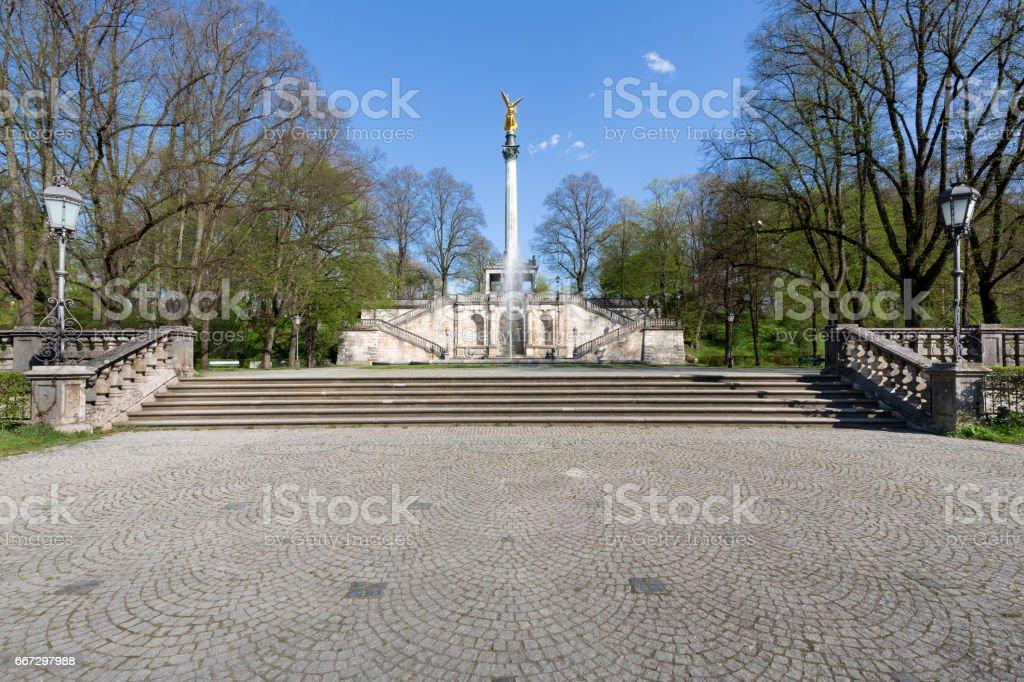 'Friedensengel' statue  in Munich, Germany, in spring stock photo
