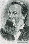 Friedrich Engels portrait from old German money