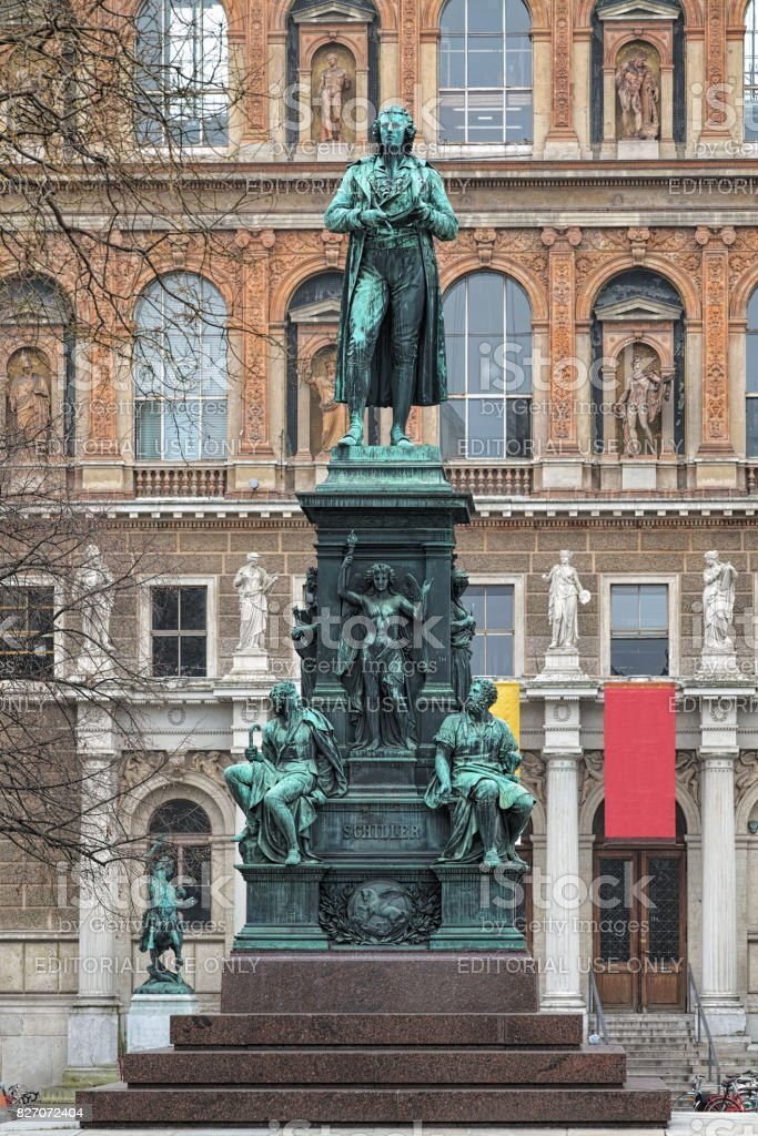 Friedrich Schiller monument in Vienna, Austria stock photo