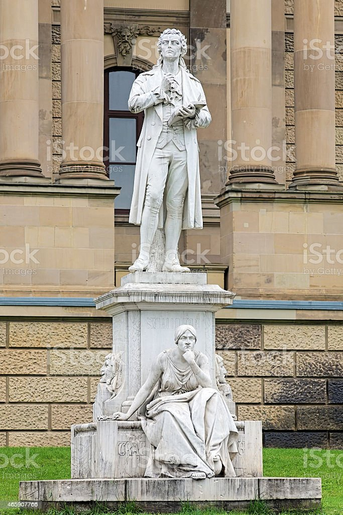 Friedrich Schiller monument in Wiesbaden, Germany stock photo