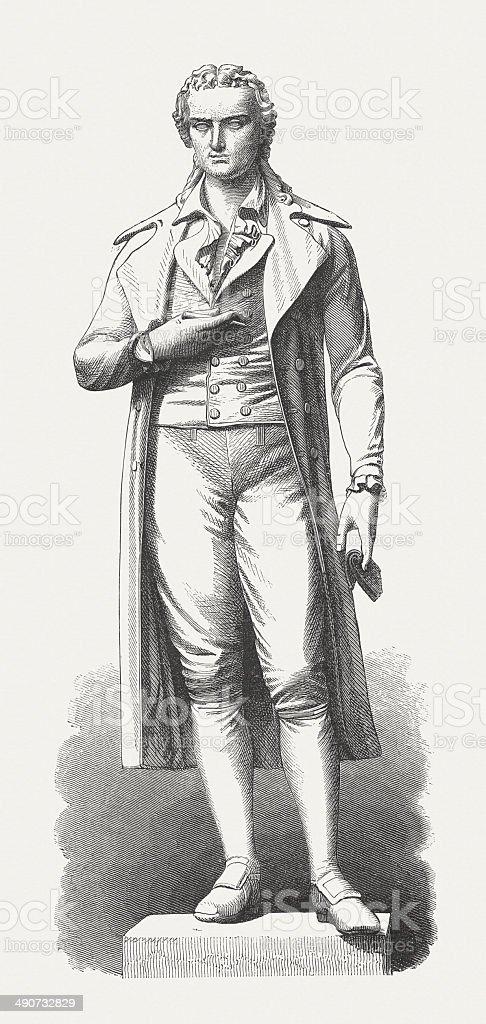 Friedrich von Schiller (1759-1805), German playwright, wood engraving, published 1876 stock photo