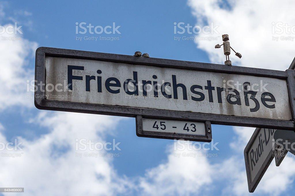 friedrichstr. street sign ,  Friedrichstrasse, Berlin Germany stock photo