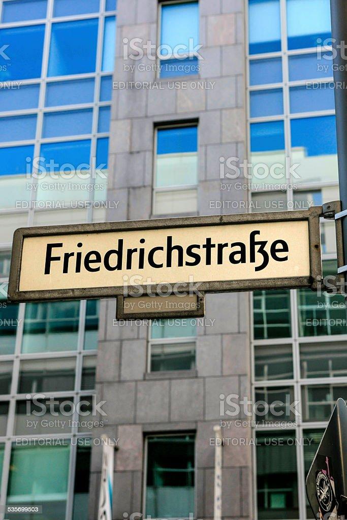 Friedrichstrasse sign in Berlin stock photo