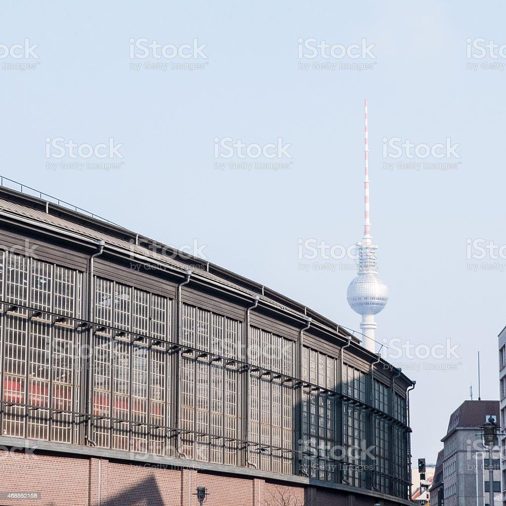 Friedrichstrasse with Fernsehturm at Berlin stock photo