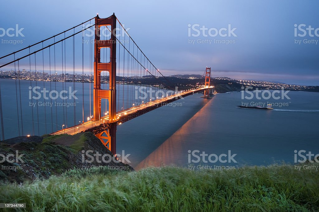 Frieghter under the Golden Gate royalty-free stock photo