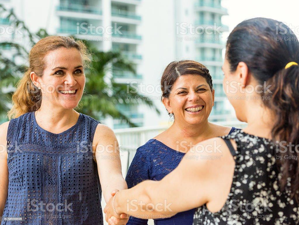 Friend meets friends stock photo