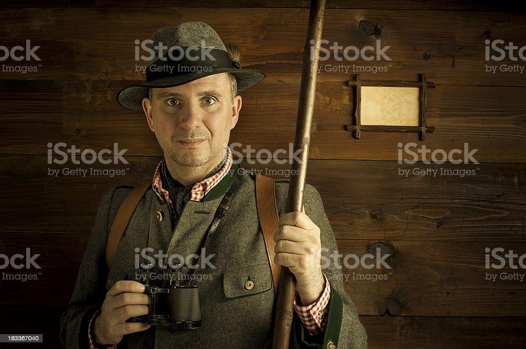 friendly alpine mountain ranger stock photo