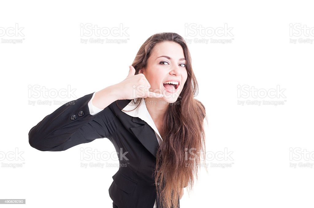 Friendly and happy business contact person or woman stock photo