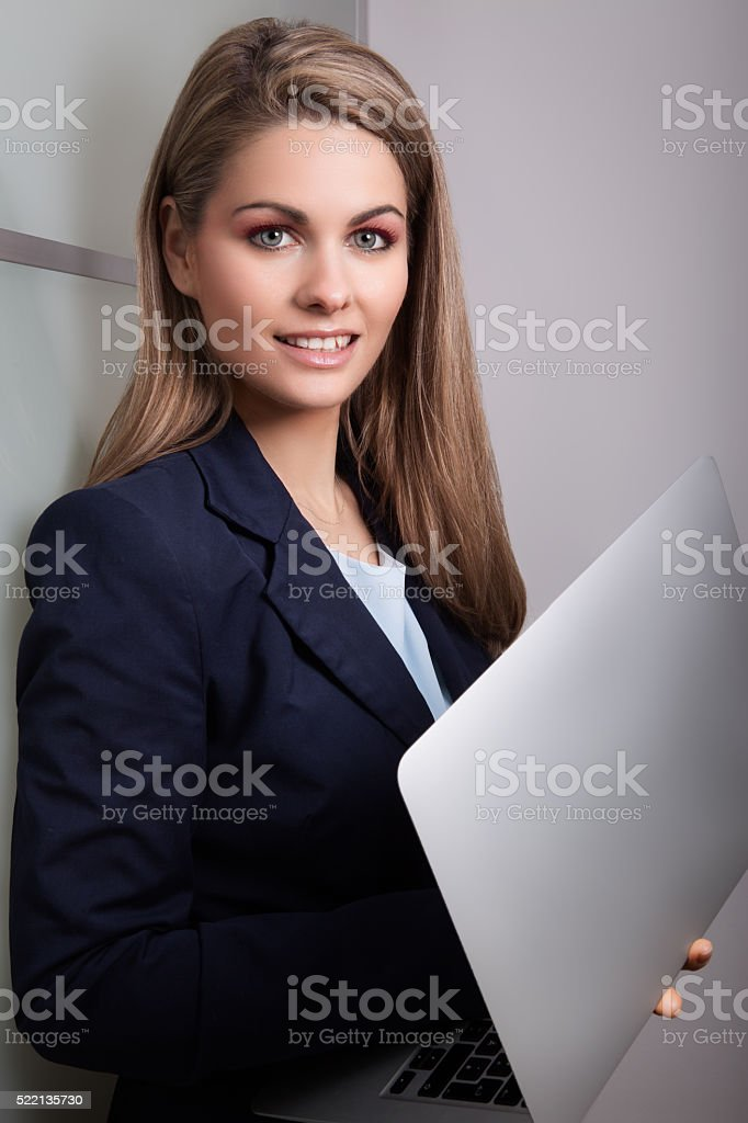 friendly business woman stock photo