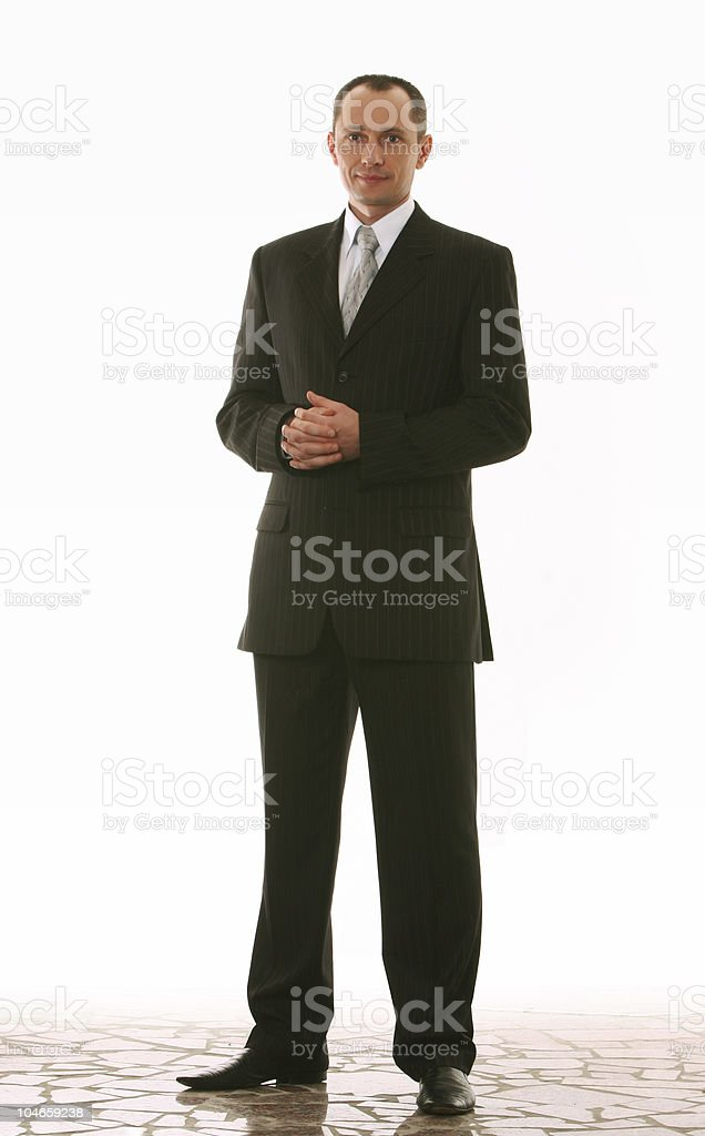 friendly businessman on clean background royalty-free stock photo
