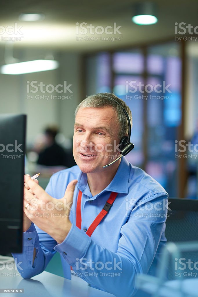 friendly call centre representative stock photo