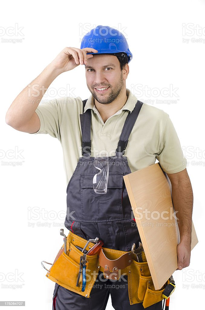 Friendly carpenter isolated on white stock photo