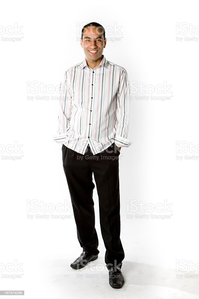 Friendly, casual full length portrait of a smiling Asian man royalty-free stock photo