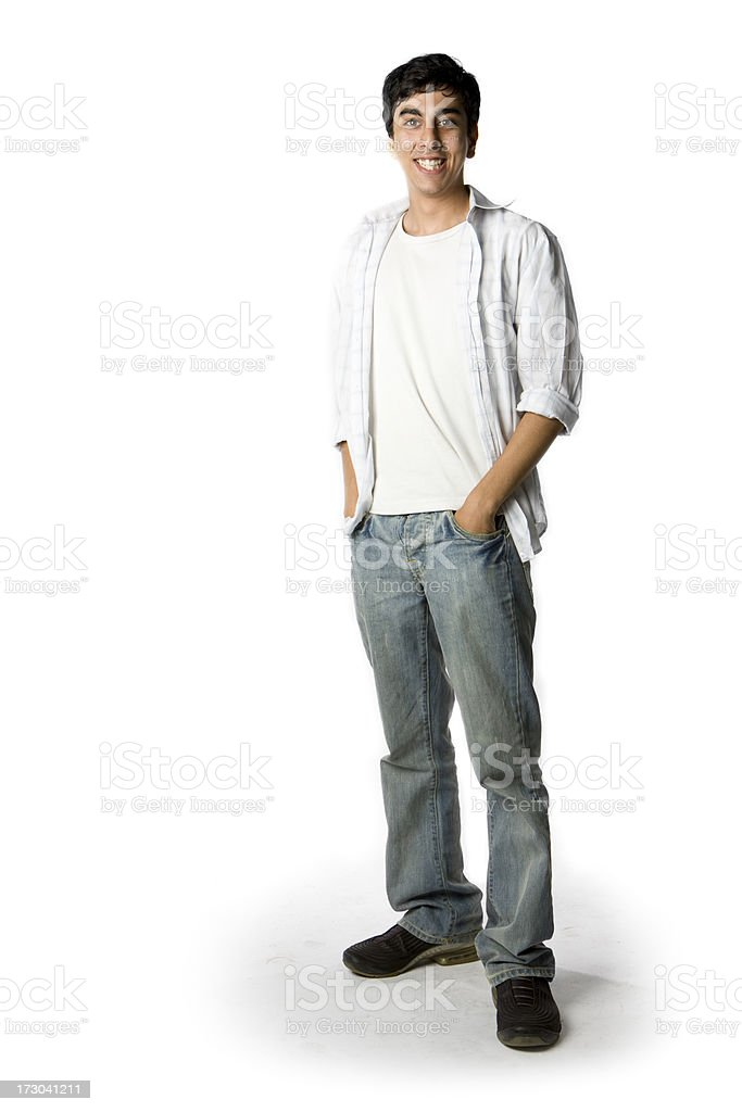 Friendly, confident smile from a casually dressed Indian teenage boy stock photo