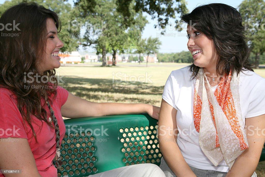Friendly Conversation Between Two Friends At A Park royalty-free stock photo