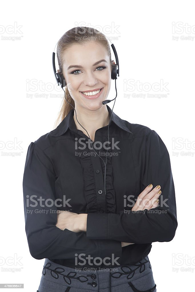 Friendly customer service representative. Arms crossed. royalty-free stock photo
