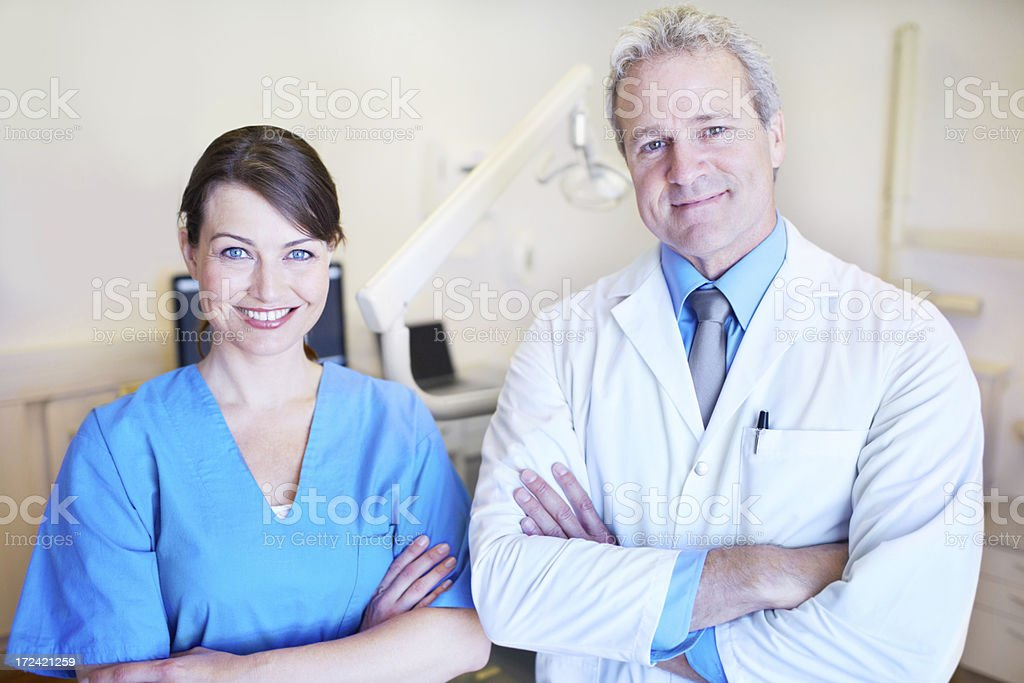 Friendly dental duo royalty-free stock photo