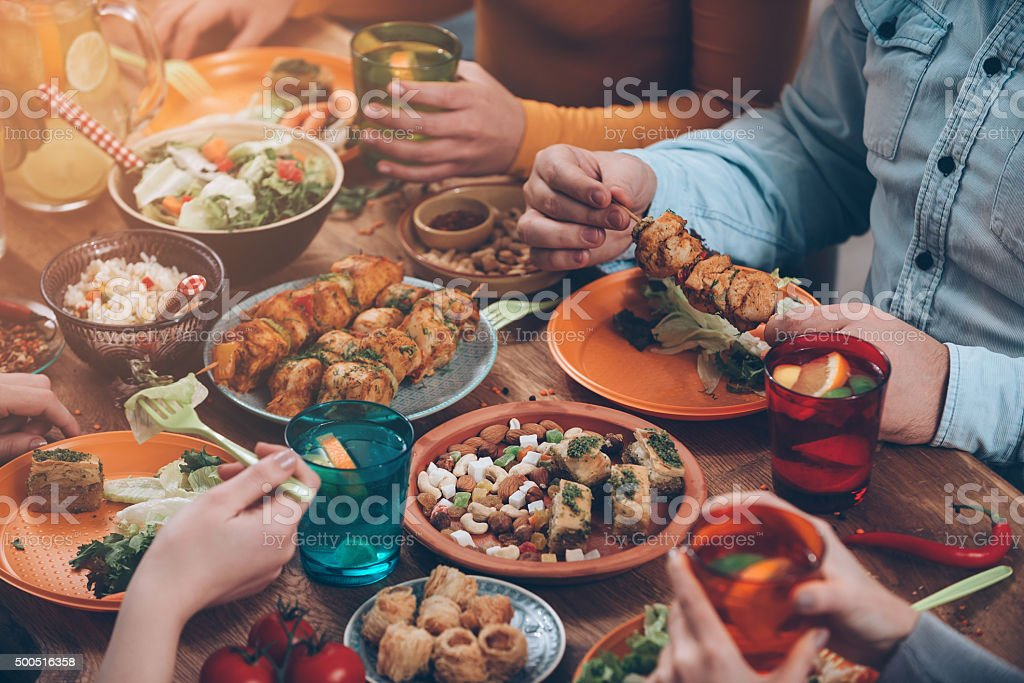 Friendly dinner. stock photo