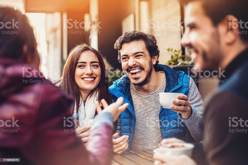 Friendly discussion stock photo