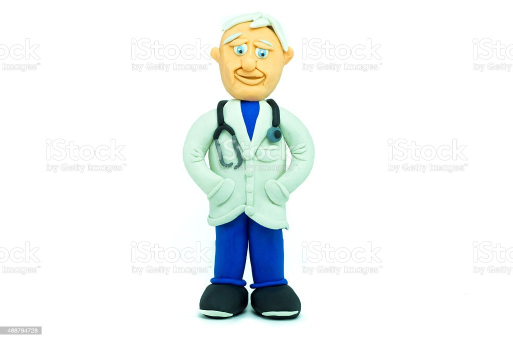 Friendly doctor made in plasticine smiling stock photo
