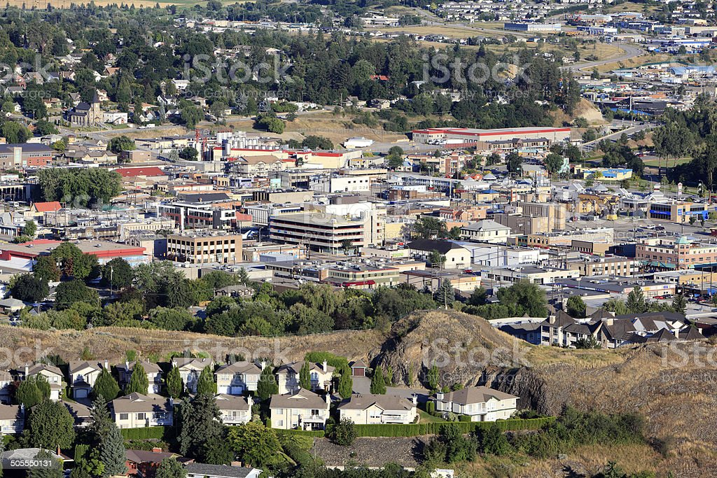 Friendly Downtown Vernon Surrounded By Old And New Residential stock photo