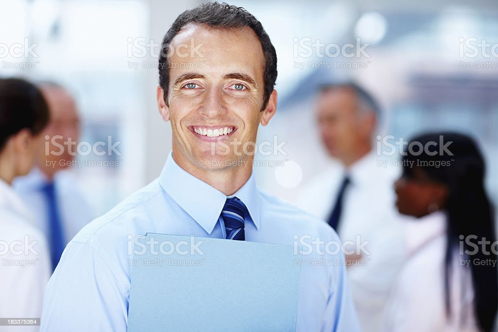 Friendly executive holding proposal royalty-free stock photo