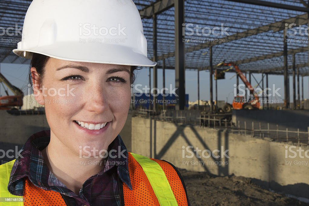 Friendly Female Construction Worker royalty-free stock photo