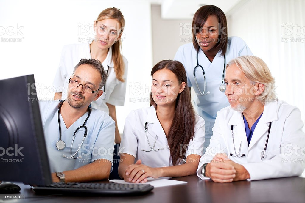 Friendly group of doctors at the hospital royalty-free stock photo