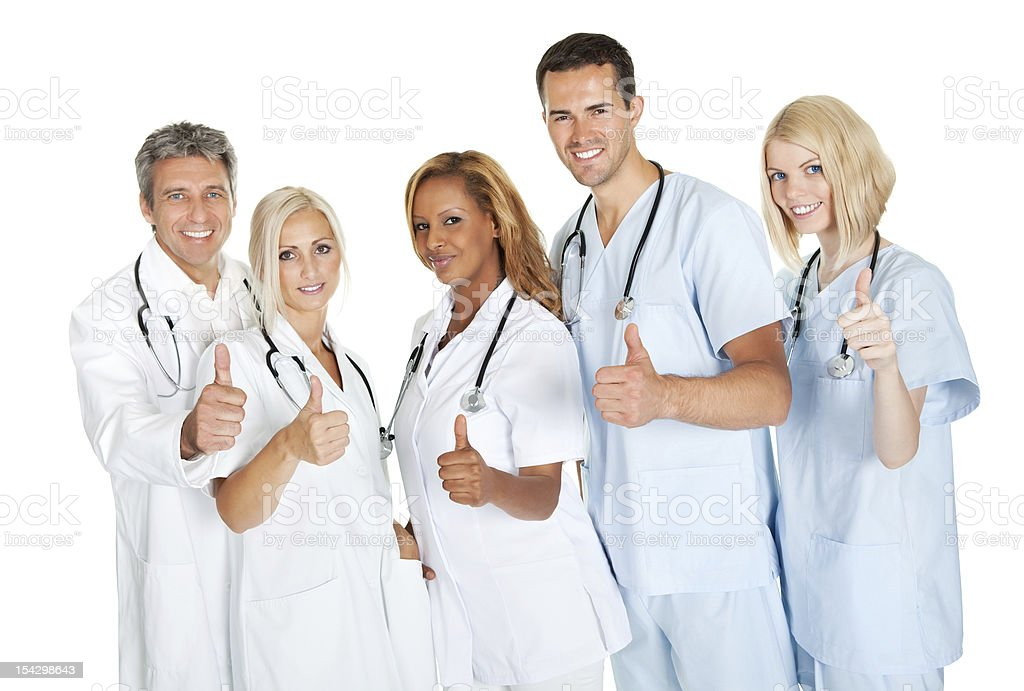 Friendly group of doctors with thumbs up on white stock photo