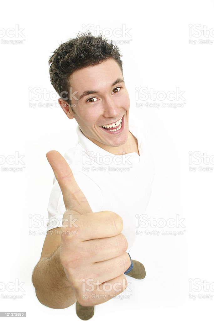 Friendly guy giving thumbs up royalty-free stock photo