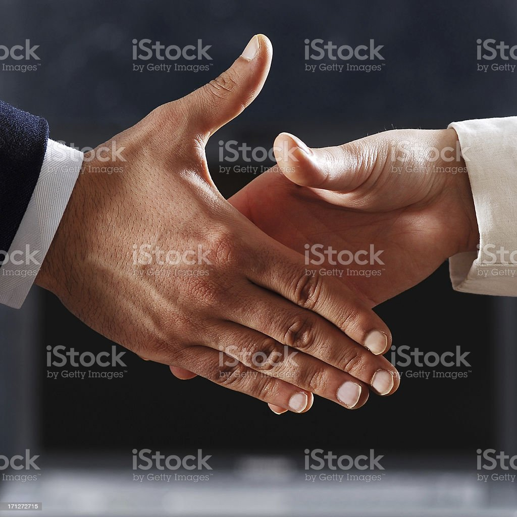 friendly handshaking royalty-free stock photo