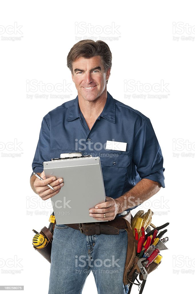 Friendly Handyman With Clipboard stock photo