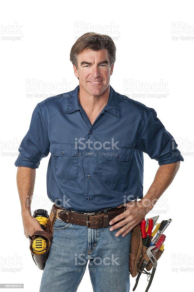 Friendly Handyman With Toolbelt royalty-free stock photo