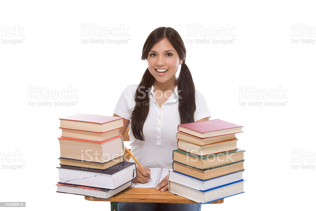 Friendly Hispanic College student with books royalty-free stock photo