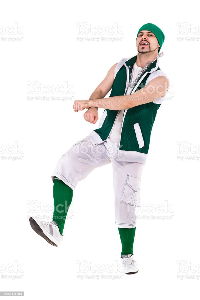 friendly man dressed like a funny gnome dancing Isolated on stock photo