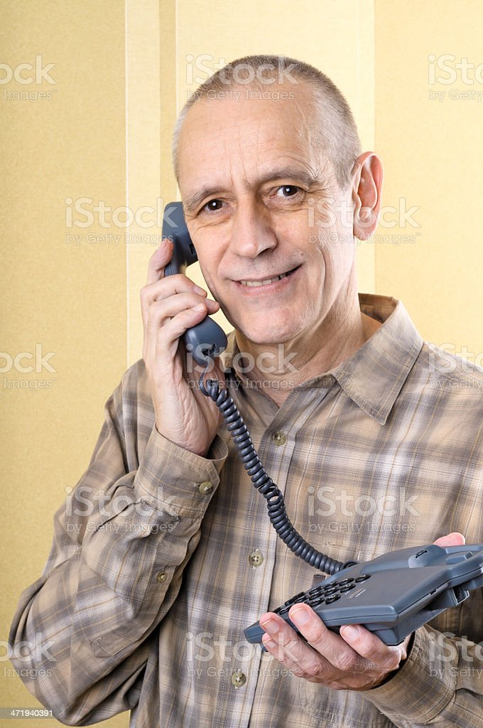Friendly Man on Phone stock photo