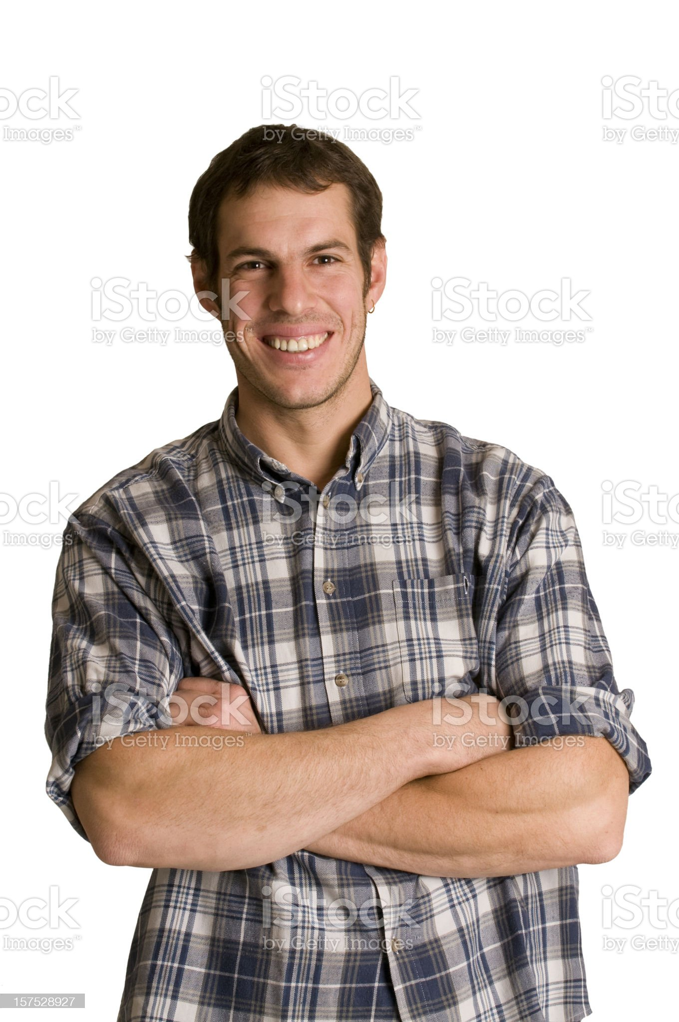friendly man with arms crossed royalty-free stock photo