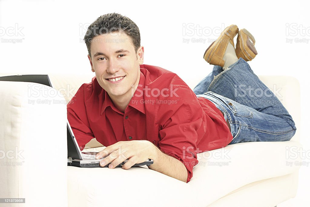 Friendly man working at home royalty-free stock photo
