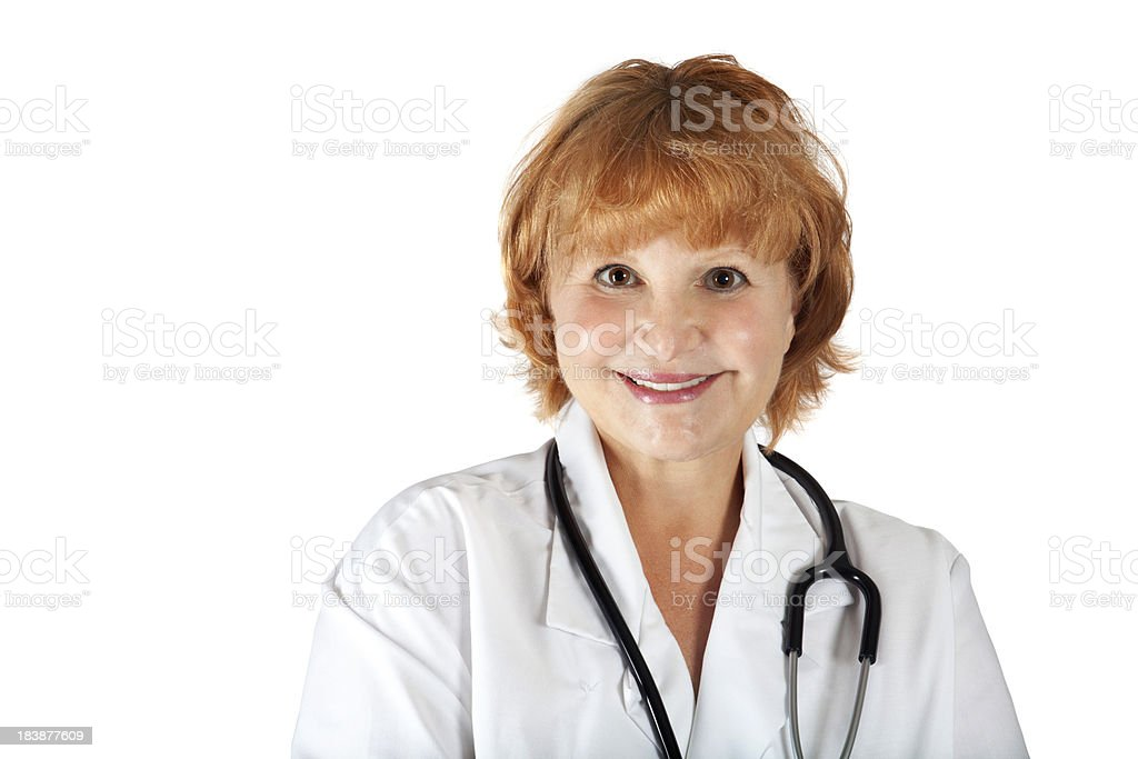 Friendly mature female doctor stock photo