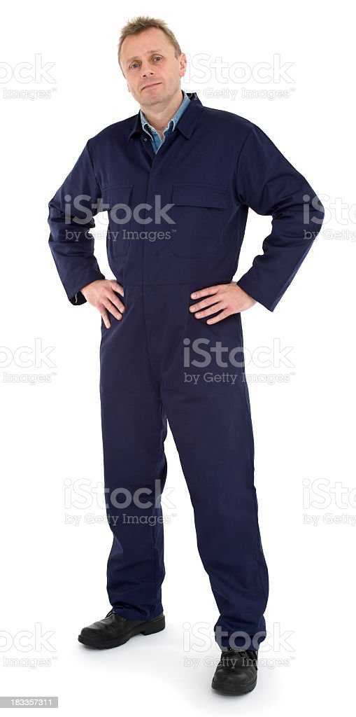 Friendly mechanic posing for picture in Navy jumpsuit stock photo
