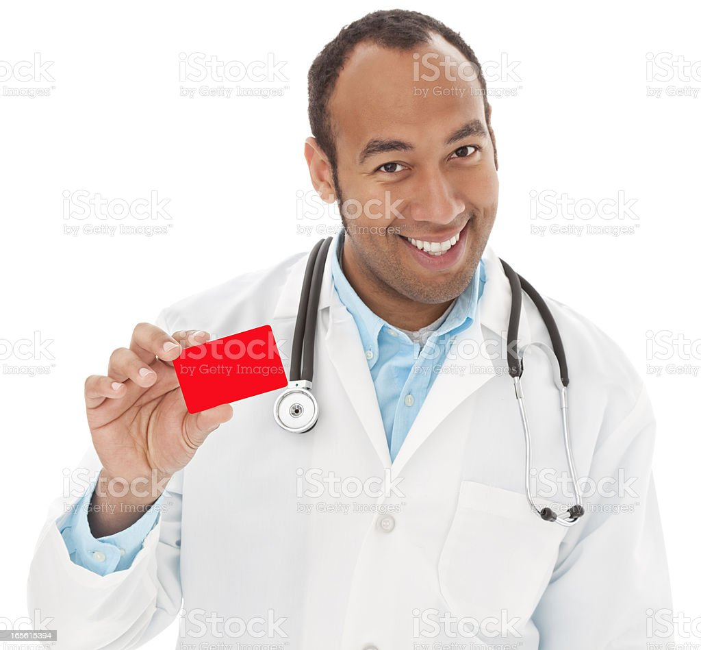 Friendly Mixed Race Male Doctor Holding Business or Credit Card stock photo