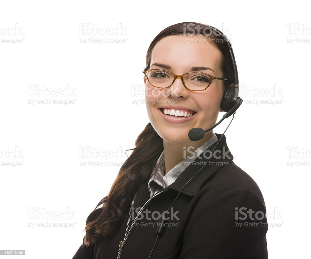 Friendly Mixed Race Receptionist Wearing Phone Head Set royalty-free stock photo